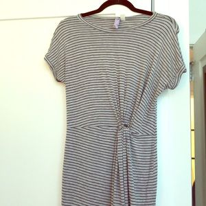 Grey striped tee shirt dress